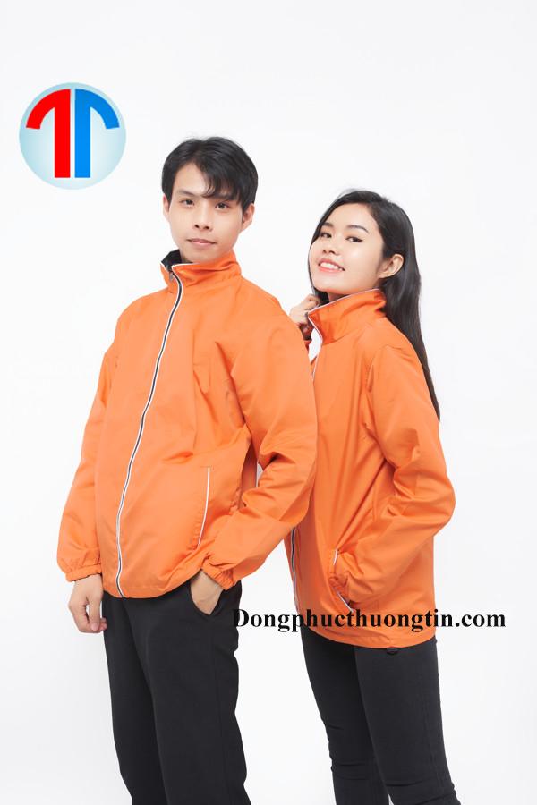 Áo khoác đồng phục hai mặt màu cam và đen